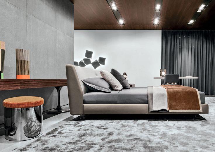 Cama doble moderna tapizada de Rodolfo Dordoni - SPENCER - Minotti