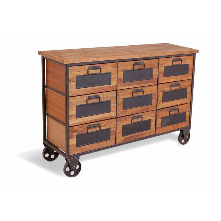 HICKS and HICKS Industrial Chest of Drawers -  This industrial chest of drawers on wheels is the ultimate in trendy living.  A re-engineered metal and wood chest with large feature wheels for moving around...