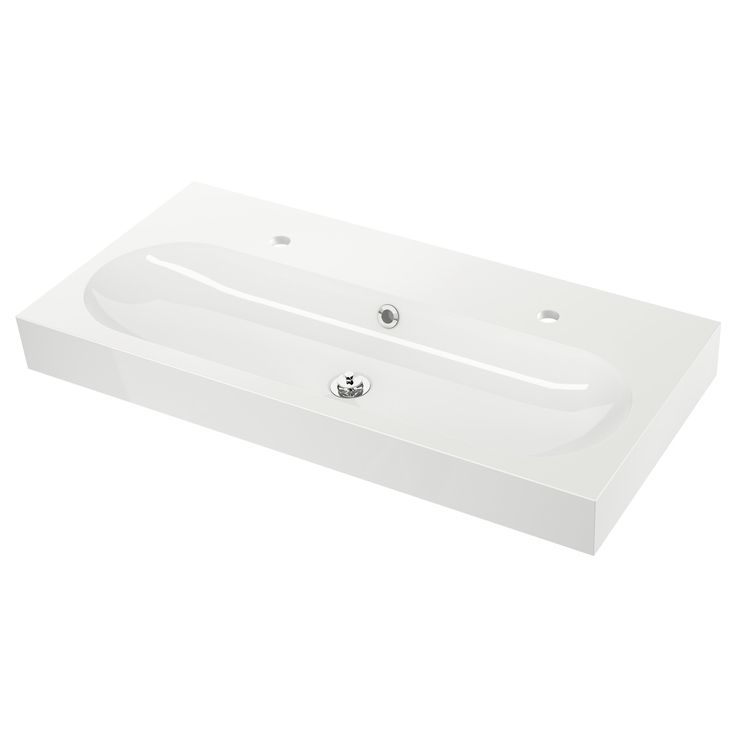 IKEA - BRÅVIKEN, Lavabo, 100x49x10 cm, , Garantie 10 ans gratuite. Détails des conditions disponibles en magasin ou sur internet.Le siphon inclus est flexible et donc facile à raccorder à l'évacuation, au lave-linge et au sèche-linge.La conception du siphon permet d'intégrer un tiroir spacieux.