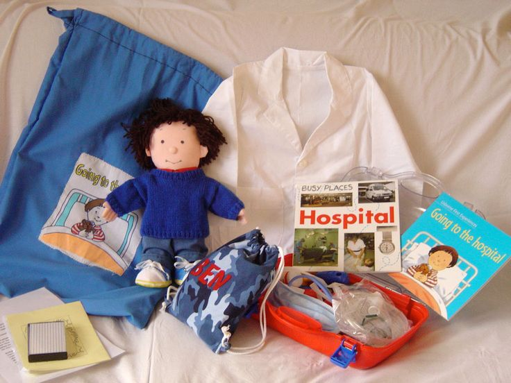 'Going to Hospital' (an Usborne book) Made way back in 2005 with three other Mums (one of them a nurse at Great Ormond Steet Childrens Hospital). Made for lending to children going to hospital for an operation. I made the doll 'Ben', all his clothes, pj's and hospital gown (inside bag). Notice the now obsolete cassette tape! Myatt Garden Primary School Storysacks Library