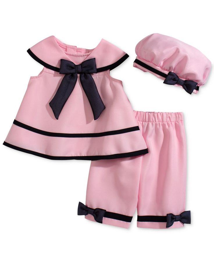 Rare Editions Baby Girls' 3-Piece Pink Dress, Capri & Hat Set