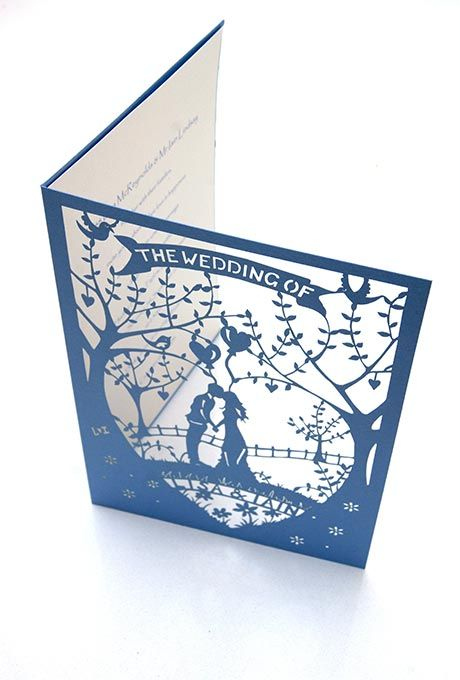 Country Garden laser cut wedding invitations. (Cut onto sky blue card!)