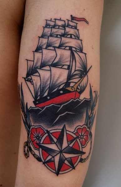 Nice Ship And Nautical Star Tattoos                                                                                                                                                                                 More