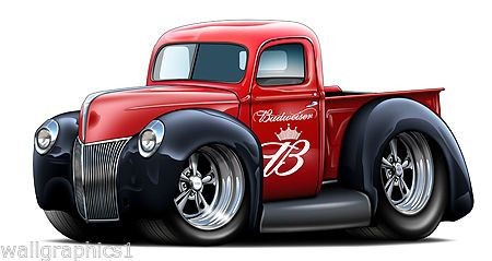 1940 Ford Pickup Truck Flathead Vintage Wall Graphic Vinyl Decal Man Cave Art