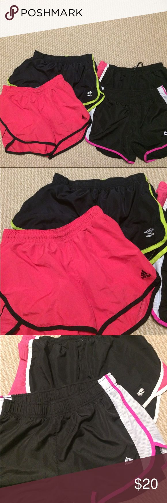 Women's running shorts size small Lot of 4 running shorts , adidas, umbro,RBI and unknown. Adidas Shorts