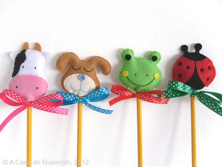 Party Favor - Set of 8 Pencil Toppers. €16.00, via Etsy.