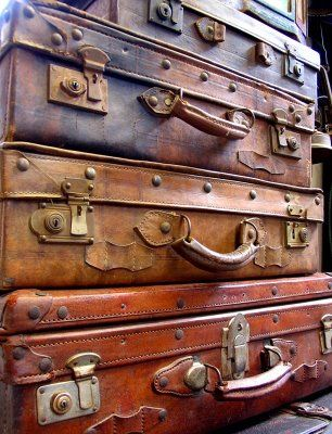 Vintage Leather Suitcases...where have they traveled?