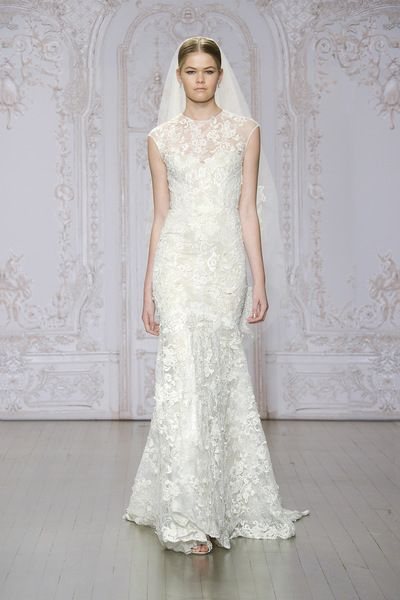 Monique Lhuillier: Stella (Ivory/Nude Embroidered Lace Illusion Cap Sleeve Sheath)