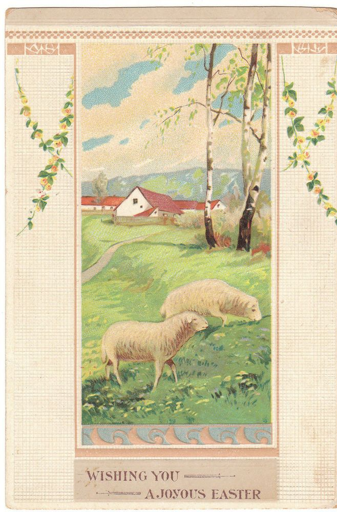 Vintage Postcard Easter Sheep Lambs Farm House Embossed #Easter
