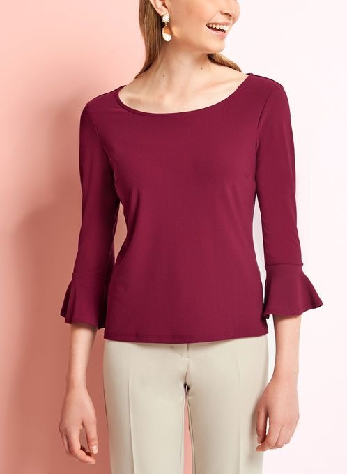 Bell Sleeve Crepe Knit Blouse