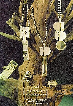 Jorma Laine advertising rock crystal jewelries from 1974