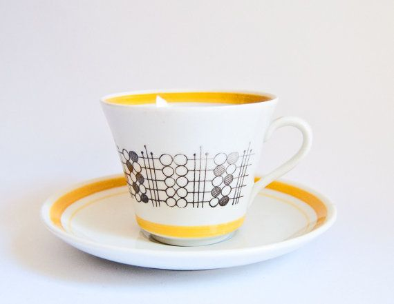 Rorstrand Sweden Cup & Saucer Duo  Meteor Design by ultralounge