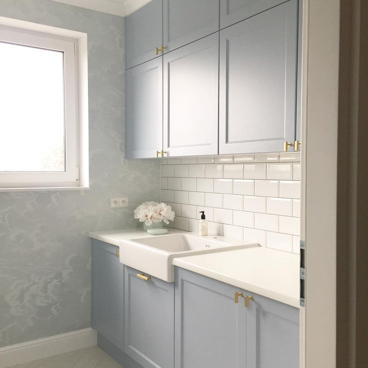 pale blue laundry room