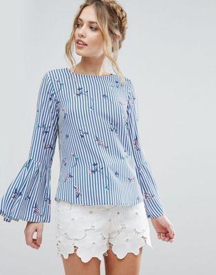 Рубашка в полоску с цветочным принтом и рукавами-колокол Closet London
