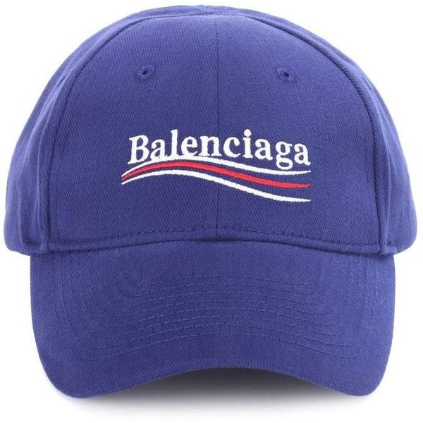 Balenciaga Embroidered Cotton Baseball Cap ( 355) ❤ liked on Polyvore  featuring accessories f1b0d7b0cb2b