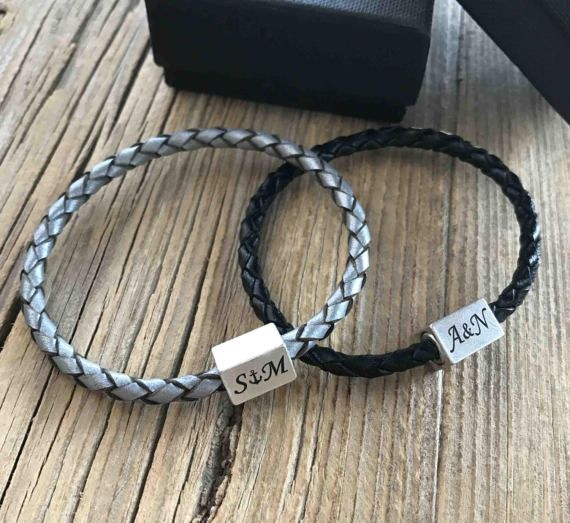 Men's Personalized Bracelet - Men's Engraved Bracelet - Customized Men Bracelet - Men's Initial Bracelet - Men's Persoanalized Gift  The simple and beautiful bracelet combines a braided leather strip and a silver plated magnetic clasp you can engrave on it initials. Available in black and grey. $58