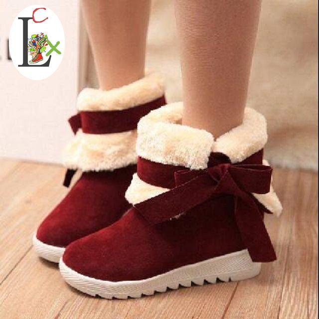 LCX invierno de las mujeres gruesas botas de terciopelo arco dos maneras de algodón acolchado zapatos antideslizantes botas de nieve ascensor femenina de arranque envío gratis