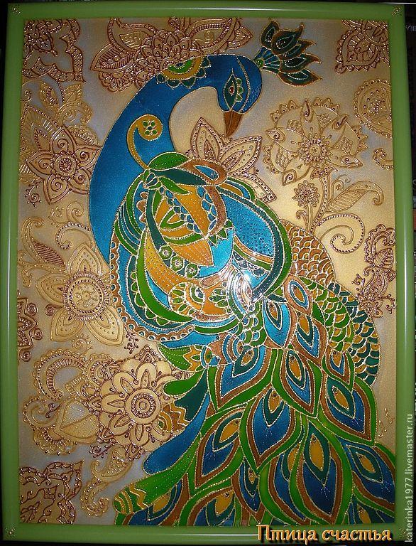Купить Картина Птица счастья - картина в подарок, картина для интерьера, Витражная роспись, подарок