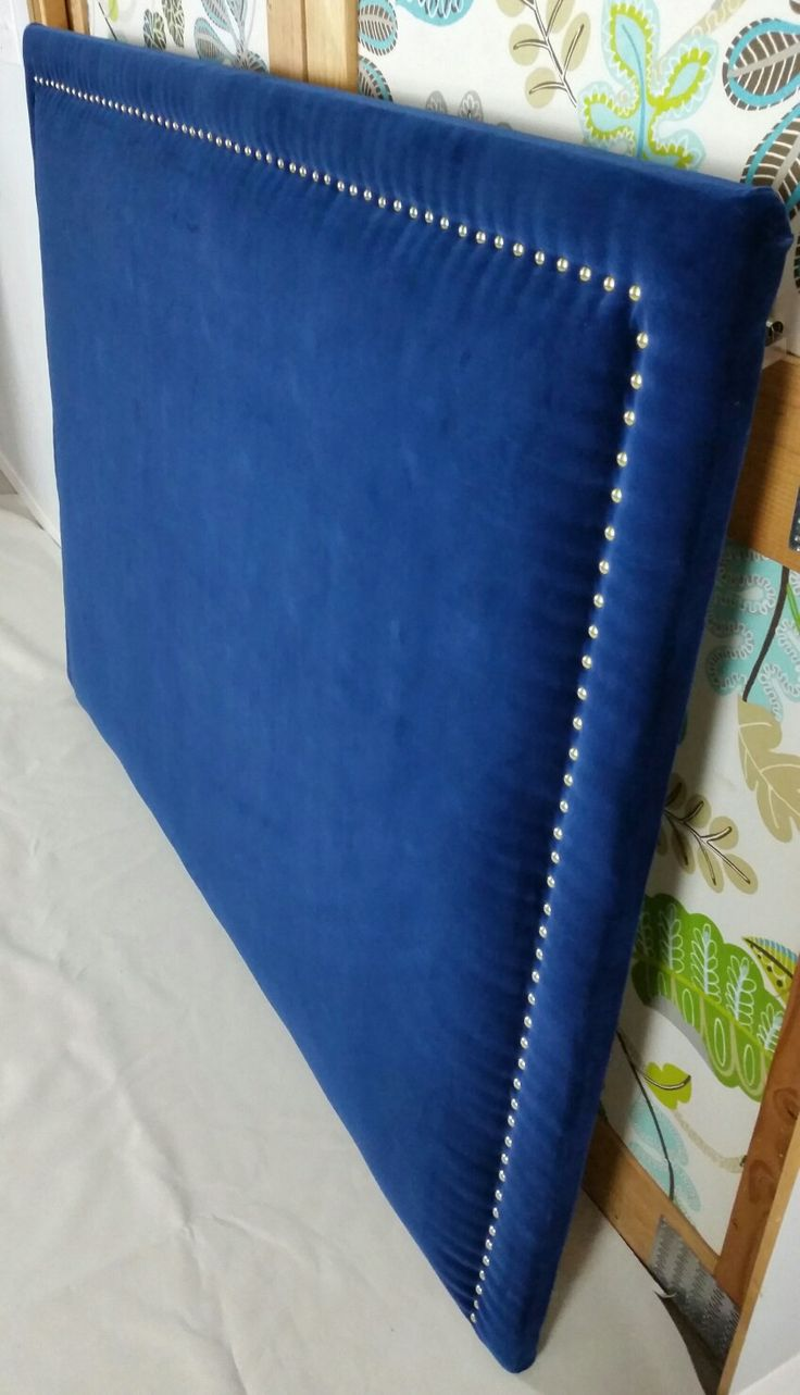 Navy Royal Blue Velvet Upholstered Headboard Gold Nail