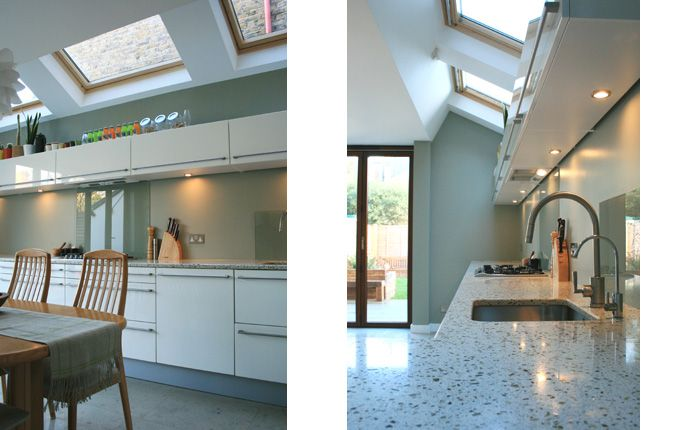 Resilica | Resilica recycled glass worktops - We mixed various shades of green and brown glass into a pale grey resin base to capture this tranquil mood. Domestic case study 09