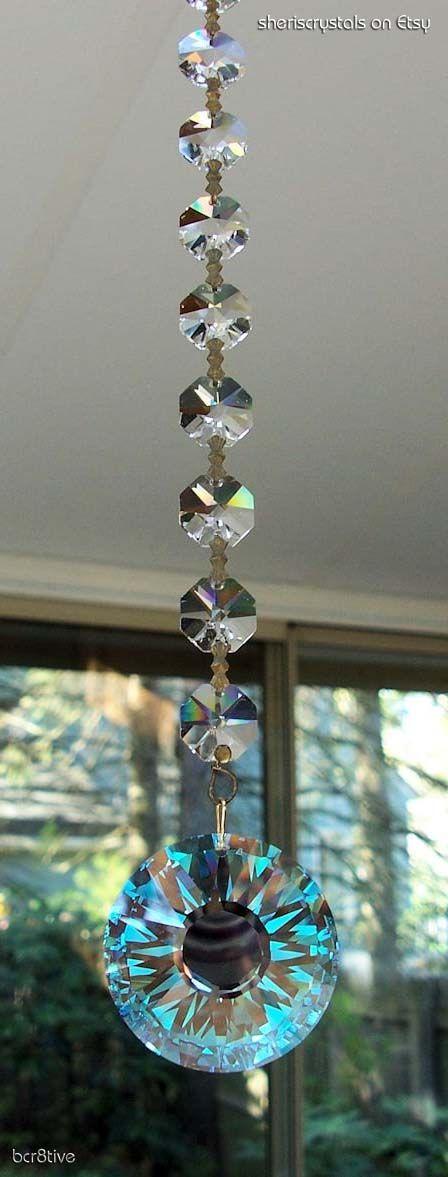 Swarovski Sun on Antique Crystal Prism Sun Catcher - by sheriscrystals on Etsy