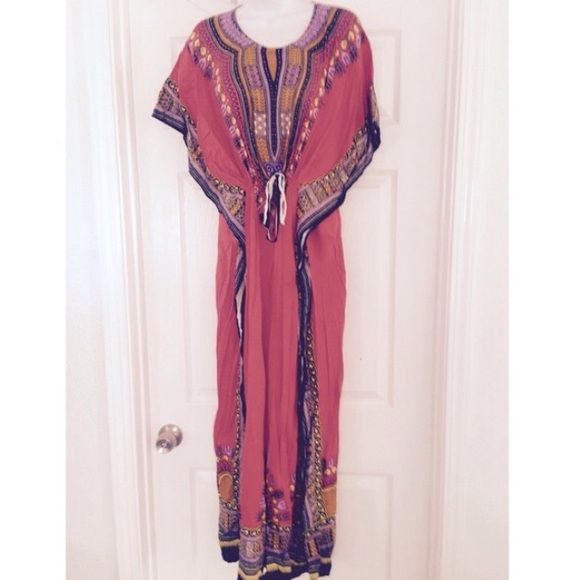 Last 1! Gorgeous orange dashiki kaftan Handmade in Java from beautiful Javanese rayon dashiki fabric, gorgeous midi kaftan is perfect for the spring 2016. Perfect island getaway girl dress, cinches at the waist for a universal fit. Size small-xl Handmade Dresses