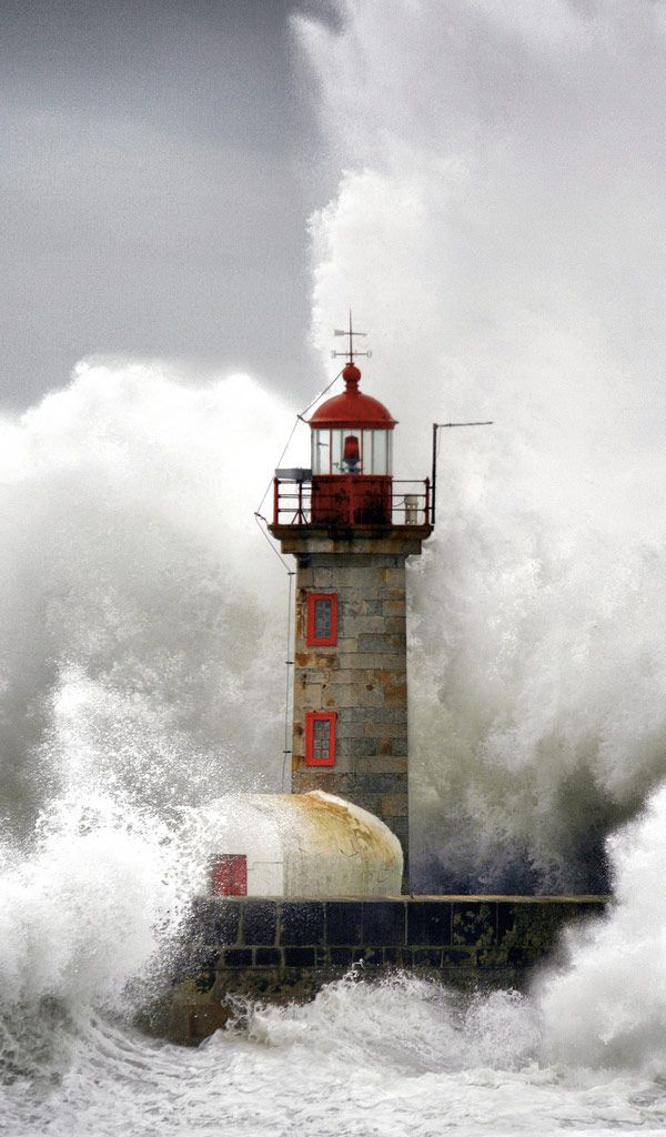 Stormy Lighthouse, Porto, Portugal