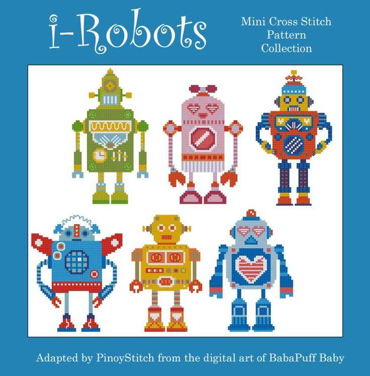 I Robot Minis Cross Stitch PDF Chart от PinoyStitch на Etsy