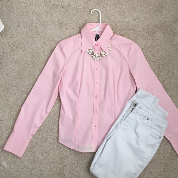 Tommy Hilfiger Baby Pink Dress Shirt Women's long sleeve collared shirt with buttons. Baby Pink. No stains (small bleach stain on bottom of shirt shown in picture). Size 10. Slim fit Tommy Hilfiger Tops Button Down Shirts