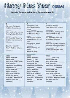 HAPPY NEW YEAR (ABBA) - Ficha interactiva inglés secundaria