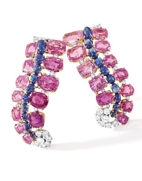 Cartier pink and blue sapphire and diamond brooches