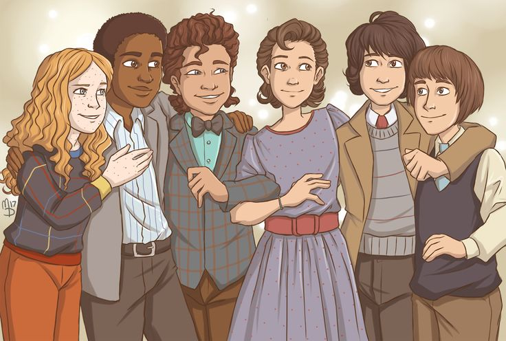 Group photo from the Snow Ball | Max Mayfield, Lucas Sinclair, Dustin Henderson, Eleven, Mike Wheeler, Will Byers - Stranger Things