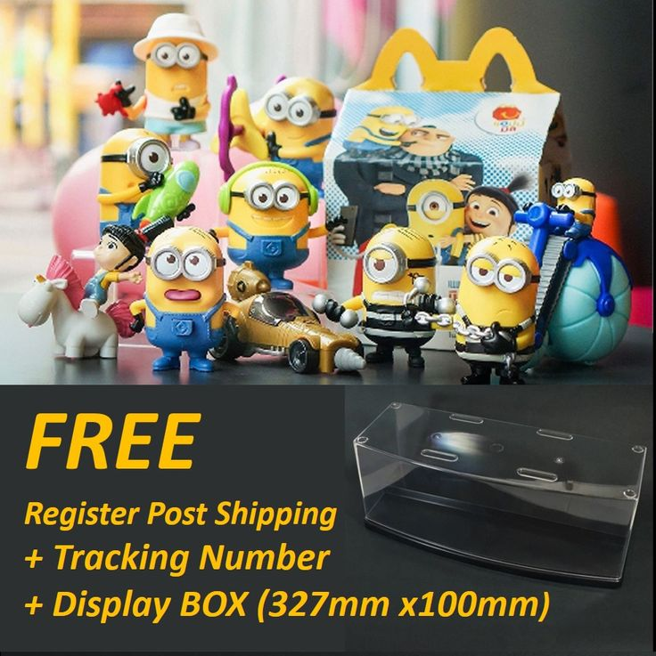 PRE-ORDER MINIONS HAPPY MEAL TOYS MCDONALDS MCD 2017 SET of 10 FREE Display Box #McDonaldHappyMealToy