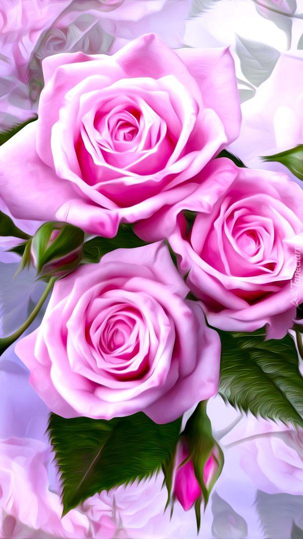 Trzy Roze Tapeta Na Telefon Flower Wallpaper Iphone Wallpaper Flowers