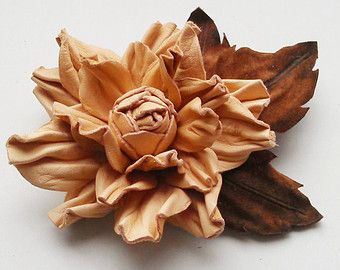 White off leather flower brooch Leather flower by JewelryWithTaste