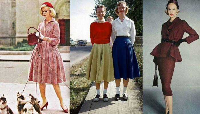 Moda anos 50 ANOS 50 – A feminilidade estava em voga. As mulheres precisam ter os corpos curvilíneos e com cintura bem marcada. Além disso, a mulher dos anos 50 deveria ser bonita e, principalmente, uma boa dona de casa, casar e ter muitos filhos