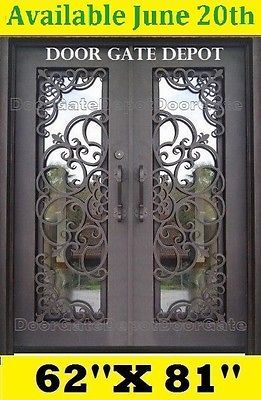 WROUGHT IRON FRONT ENTRY DOORS WITH TEMPERED GLASS 62''X81'' DGD1071  | eBay