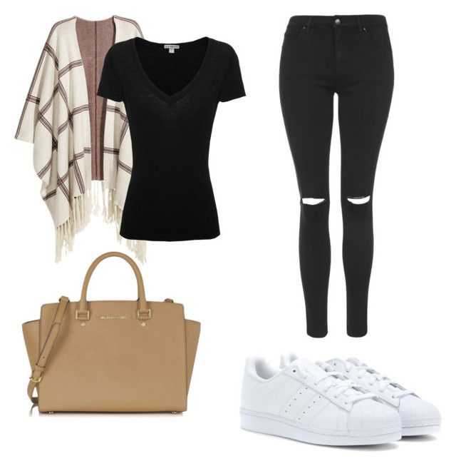 """School"" by sch-csilla on Polyvore featuring H&M, Topshop, James Perse, Michael Kors, adidas Originals, school, michaelkors, adidas and poncho"