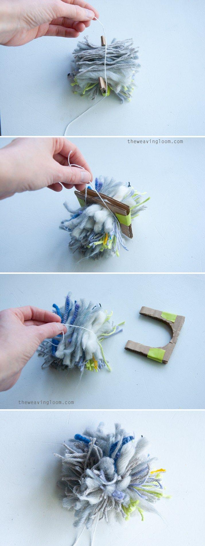 Scrap Yarn Pom Poms! A great idea for not wasting yarn!!