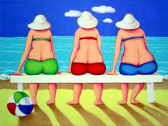 Rebecca Korpita ~ Wave Watch ~ three girlfriends sit mesmerized by the action of the waves hitting the beach.