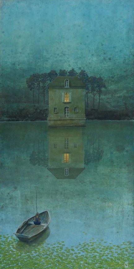 """Philippe Charles Jacquet, La maison de l'auteur, 2014, Oil On Board, 47"""" x 23½""""  I love this piece....I definitely want a print of it"""