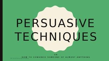 A PowerPoint presentation that teaches students about persuasive techniquesIncludes:-Written and visual examples for each persuasive technique-Whole-class quiz to determine which persuasive technique is being employed-Tug-of-War Making Thinking Visible activity to promote high-order thinkingFor more instructions on how the Tug-of-War activity works, please visit the Harvard Project Zero page here.A bundle that also includes a cloze and a handout to accompany this PowerPoint can be found…