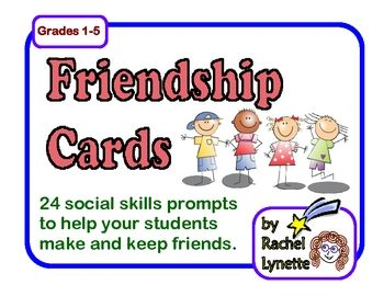 FREE Friendship Cards: 24 social skills prompts to help your students make and keep friends.- Re-pinned by @PediaStaff – Please Visit http://ht.ly/63sNt for all our pediatric therapy pins