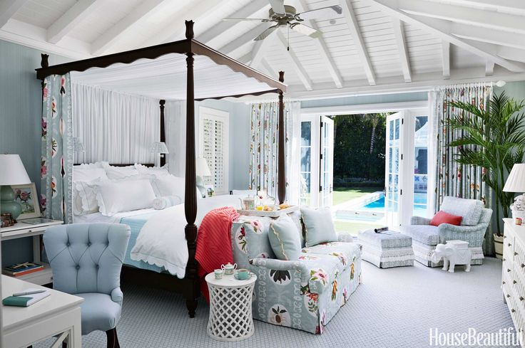 In a Palm Beach house designed by Mimi McMakin and AshleSharpe, the masteeze from the pool terraceectly from Raoul Textiles' Martinique — us   .   - HouseBeautiful.com