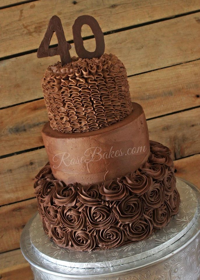A Chocolate Chocolate 40th Birthday Cake. Yes, it's double chocolate