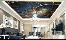 Customi 3d foto behang 3d plafond behang mural Blauw goud bloem welvarende Europese condoleren top 3d woonkamer behang(China)
