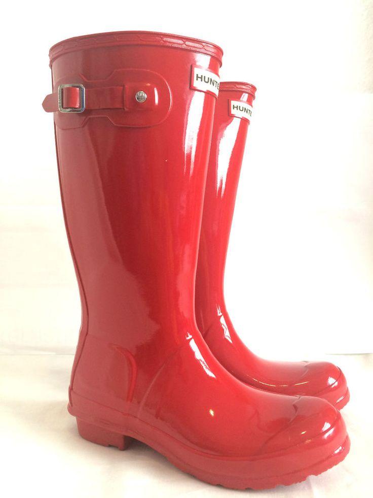 Hunter Wellies Original Wellington Boots Gloss Pillarbox Red Kids Womens 13  to 4