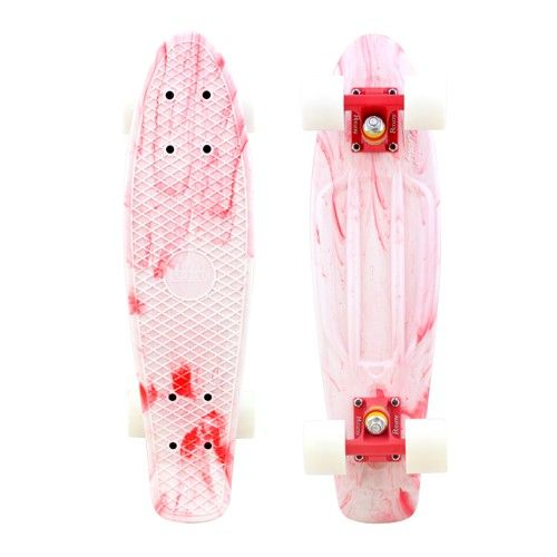 white + red marbled penny skateboard