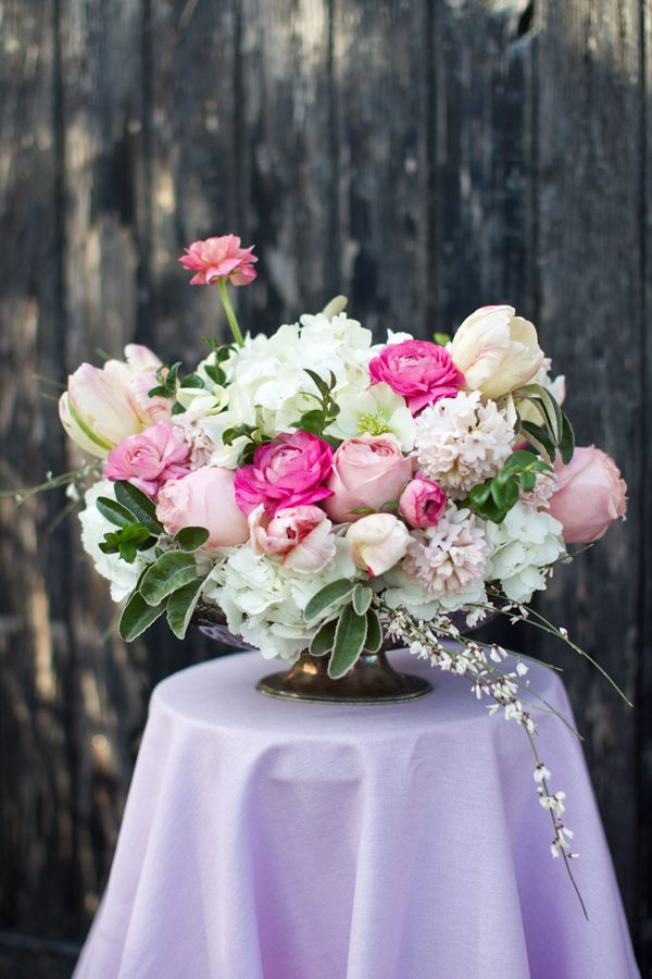 Garden Bride Flower Guide - Ruffled  Flowers used: -Hydrangea -Ranunculus -Parrot tulips -Hyacinth -Roses