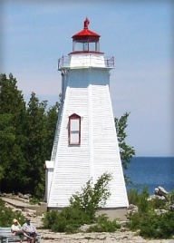 Big Tub lighthouse in Tobemory Ontario in Bruce County on the shores of Lake Huron